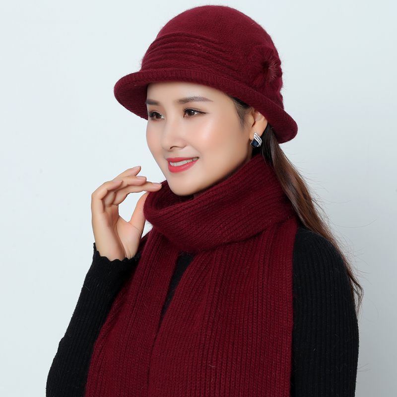 New Women Winter Rabbit Fur Hat And Scarf Knitted Wool Solid Colors Cap Bobble Beanies Warm Hat Skullies Beanie Hat