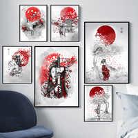 Poster Prints Hot Japanese Zen Ink Bonsa Bushido Samurai Kanji Canvas Art Oil Painting Wall Pictures For Living Room картины
