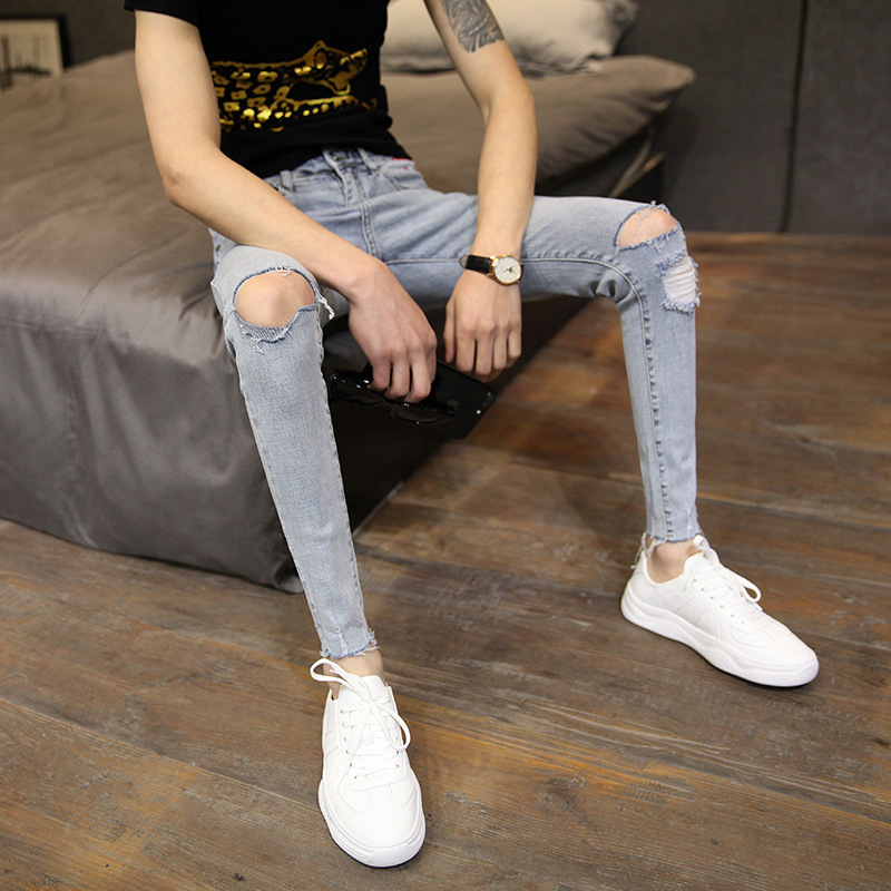 Fashion Stretch Cropped Pants Men's Small Feet Slim Hole Skinny Jeans Men 2020 New Spring And Summer Teenagers Ripped Hole Pants