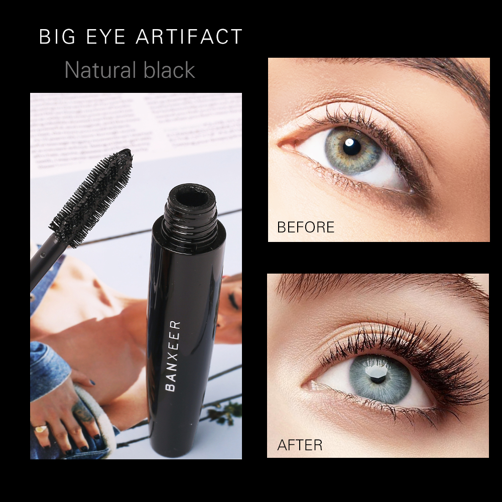 BANXEER Fluffy Volume Mascara Makeup 4D Silk Fiber Lash Mascara Waterproof Rimel 3d Mascara Extension Thick Long Curling Eyelash 3