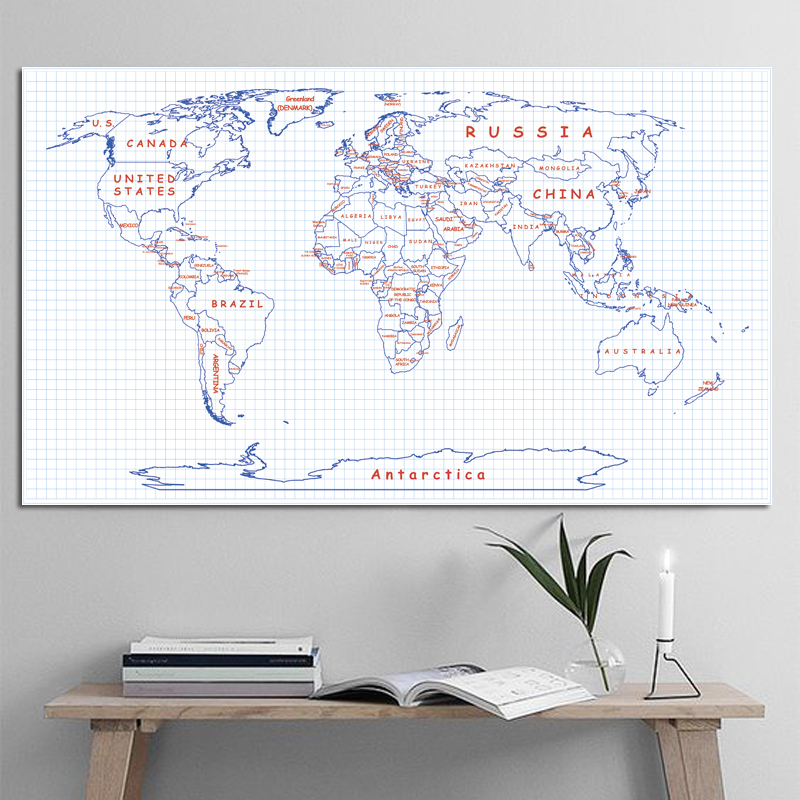 Mesh Pattern  World Map Poster Size Wall Decoration Large Map Of The World 80x46cm Waterproof Canvas Map