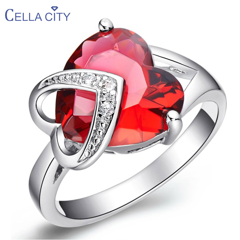 Cellacity Heart shaped Silver 925 Jewelry Purple Red Gemstones Ring for Women Ruby Amethyst Korean Style Female Party Rings Gift