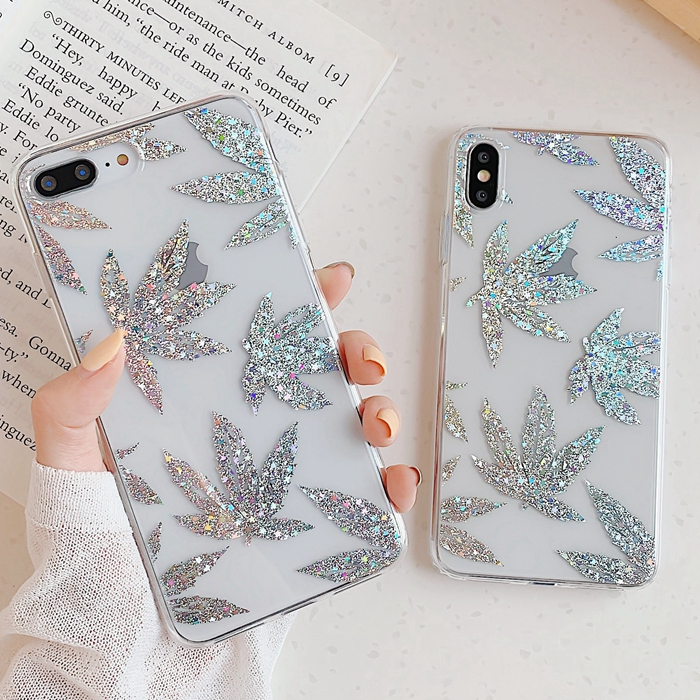 Luxury Gold Glitter Transparent Phone Back Cover And Clear Phone Bling Case Shell For iPhone Models 3