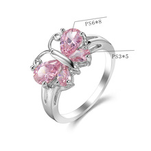 Female Butterfly Ring Fashion Pink Fire Opal silver Filled Jewelry Vintage Wedding Rings For Women Christmas Accessories