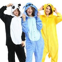 Nowe zwierząt jednorożec piżamy dorosłych zima piżamy Kigurumi Stitch Panda Pikachu piżamy kobiety Onesie Anime kostiumy kombinezon tanie tanio YSOYOK Poliester Unisex Pasuje prawda na wymiar weź swój normalny rozmiar Flanelowe S M L XL Cartoon licorne