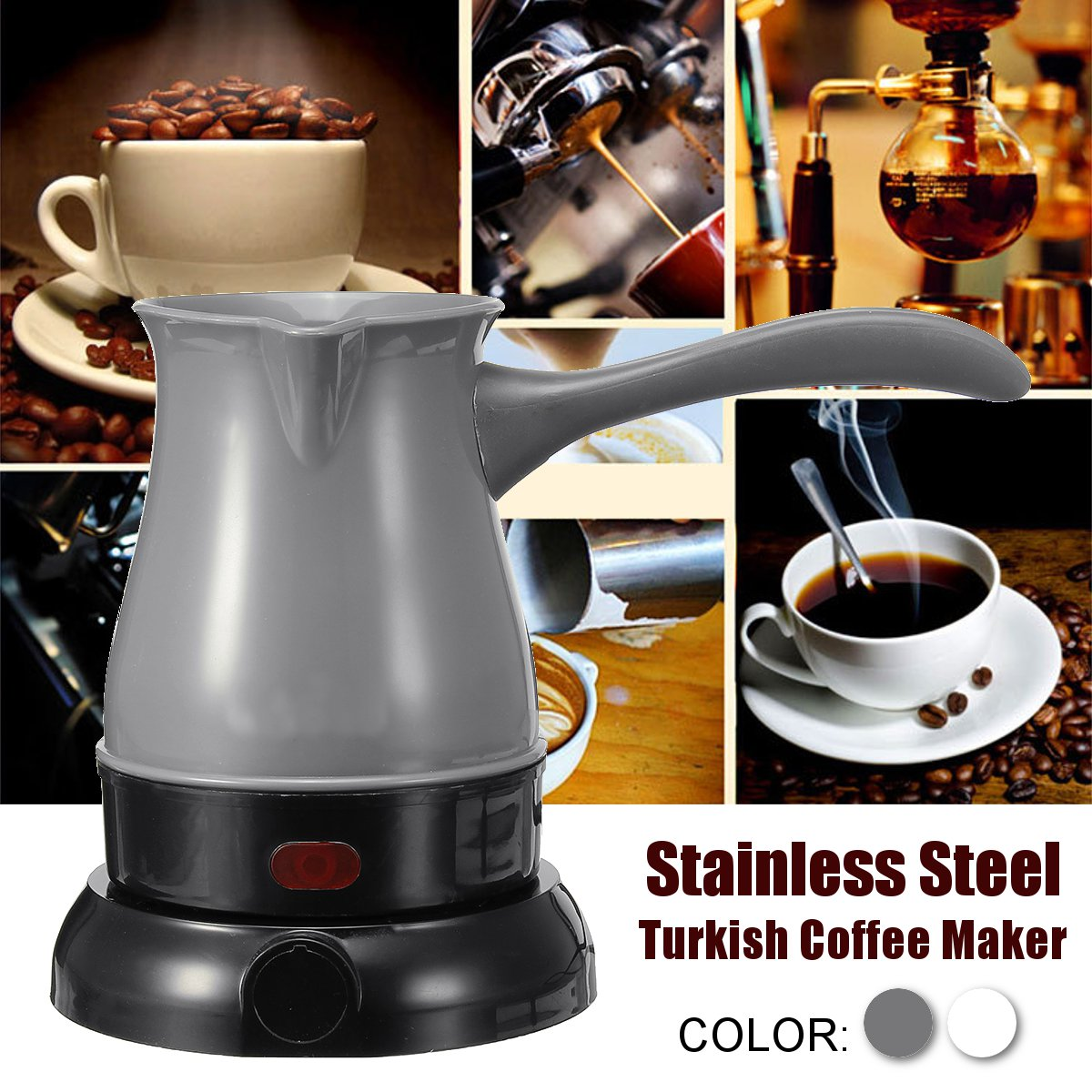 600W 220V Electric Turkish Coffee Maker 300ml Stainless Steel Tea Milk Pot Portable Coffee Machine Boiled Milk Coffee Kettle