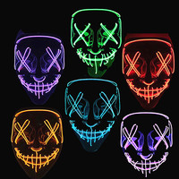Halloween Party Led Maske Masque Masquerade Neon Licht Glow In The Dark Mascara Horror Glowing Masken Kostüm Liefert