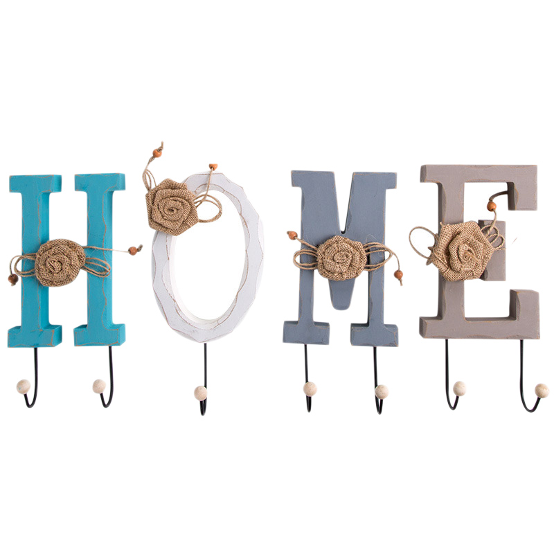1Set 4 Pcs Creative Hooks Letter HOME Coat Hat Hooks Wall Hanger Decorative Hooks Living Room Hallway Home Hooks