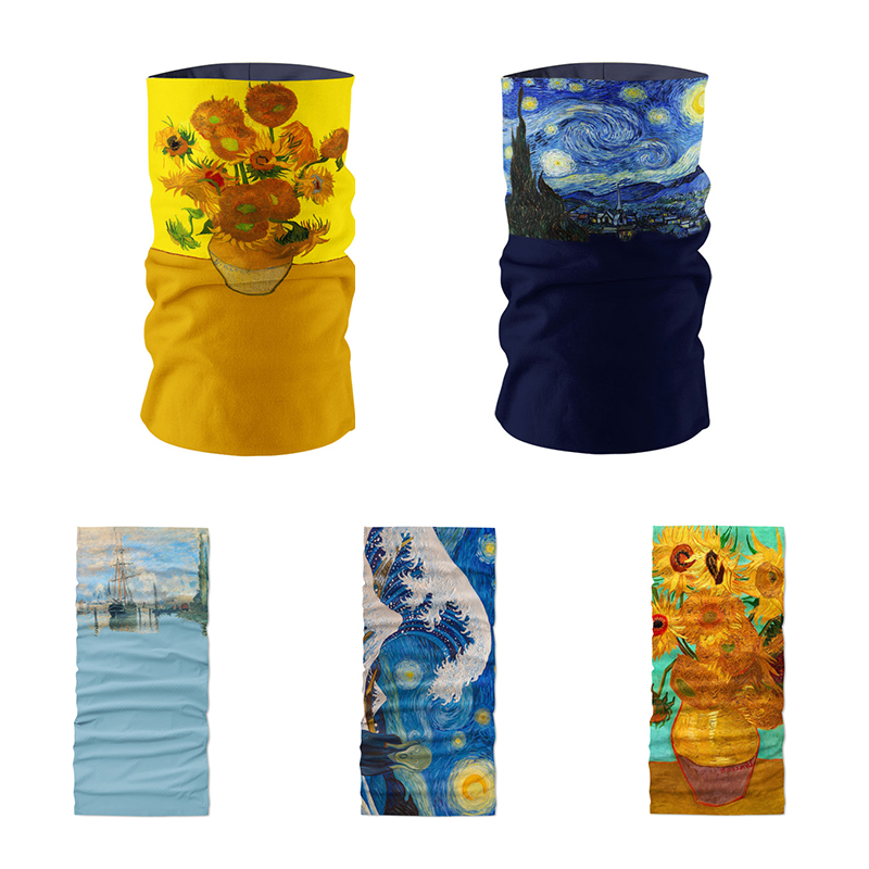New Fashion 3D Printed Van Gogh Oil Painting Art Hijab Scarf Women Bandana Funny Sunflower Starry Night Unisex Mask Kerchief