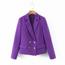 2020 new spring fashion ladies blazer Casual Purple Short Ladies Jacket Small Suit Fashion Double Breasted Coat Feminine