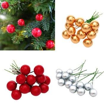 12 Uds. Rojo Artificial acebo Berry Navidad DIY jardín decoraciones Navidad suministros de decoración para Navidad Dropshipping 94