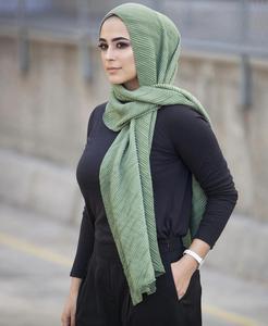 Image 2 - women plain cotton scarf Head hijab wrap solid full cover up shawls foulard femme headband crinkle muslim hijabs store