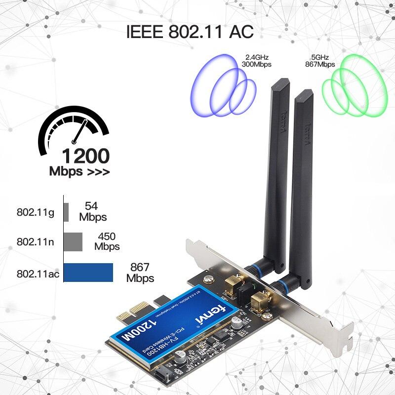 Image 2 - Desktop Dual Band 802.11ac Broadcom BCM94360 Wireless AC WiFi  Bluetooth 4.0 PCI E Adapter For Mac/Hackintosh/WindowsNetwork Cards