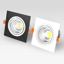 Kare kısılabilir LED downlight gömülü 7W9W12W COB LED tavan lambası ac85 265v sıcak/soğuk beyaz LED spot iç mekan aydınlatması