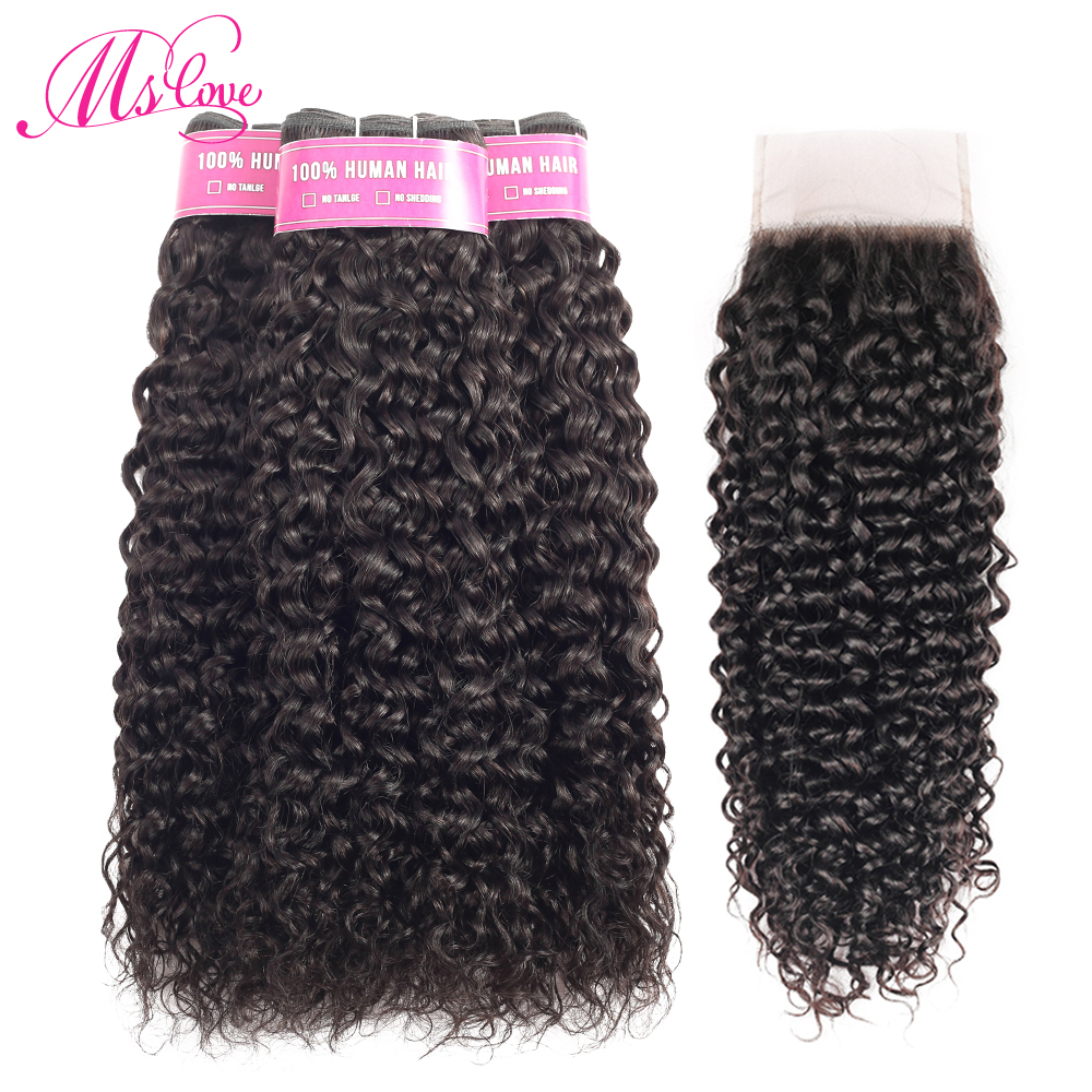 Deep curly 3 Bundles With Closure Remy Peruvian Hair Bundles With Lace Closure 4x4 Natural Color