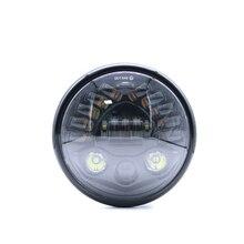 Retro Black Universal 7 Inch Motorcycle Round LED Headlight Housing Hi/Low Beam Motorbike Moto Front Lamp with Head