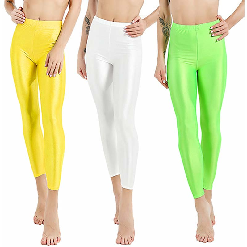 Women Pant For Girl Spandex Shiny Solid Color Fluorescent   Leggings   Casual Elastic High Quality Large Size 1PC Trousers 2019 New
