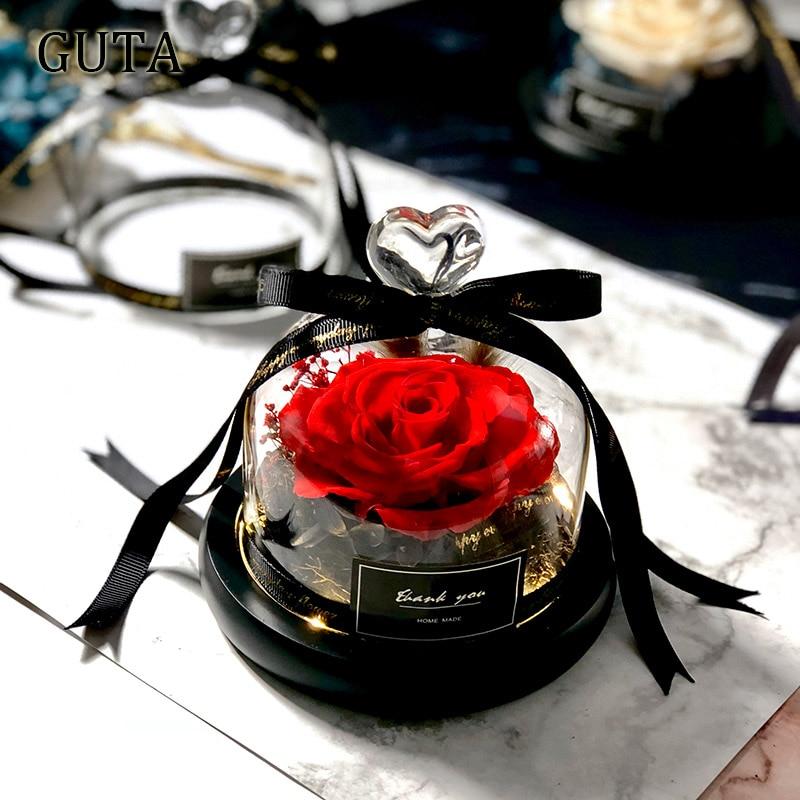 Вечная эксклюзивная Роза в стеклянном куполе Красавица и Чудовище Роза романтические подарки на день Святого Валентина подарок на Рождество подарки на праздник - Цвет: G01-A