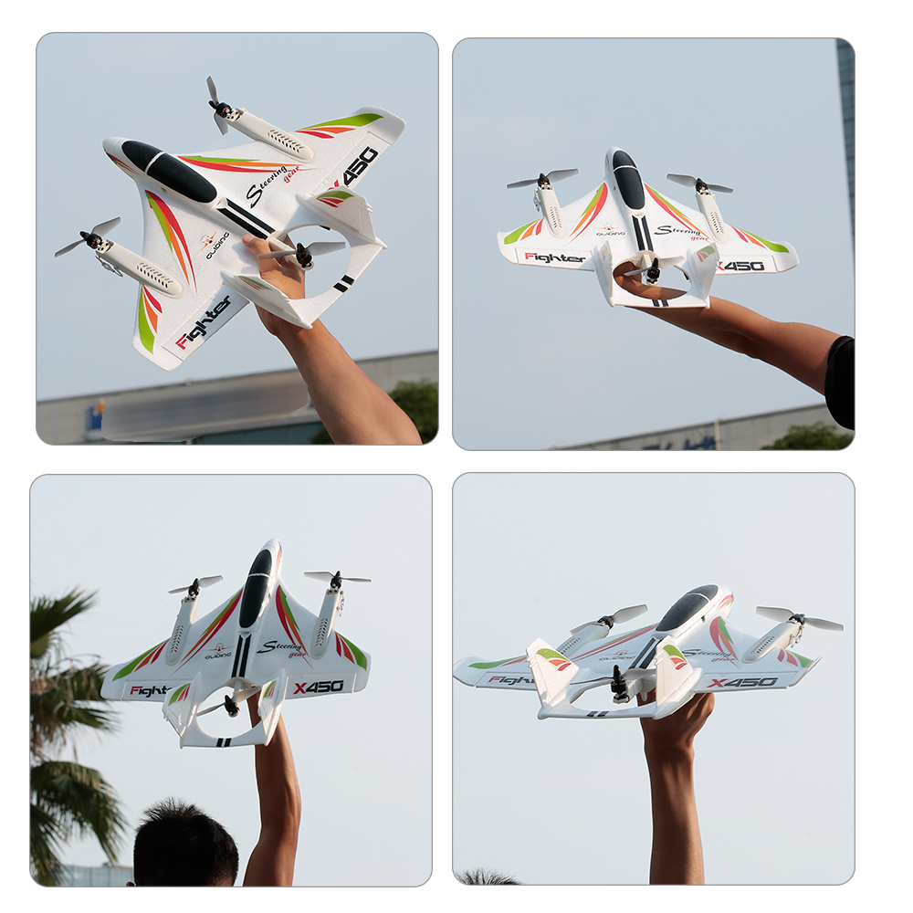 2.4G 6CH WLtoys XK X450 3D/6G RC Vertical Takeoff LED RC Glider Fixed Wing RC Airplane RTF Remote Control Toy With Parts