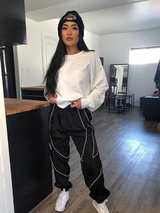Rapwriter Jogger-Pants Strip Cargo Stretch Loose Reflective High-Waist Fashion Fall