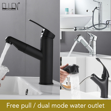 Pull Out Bathroom Basin Sink Faucet Single Handle Hot and Cold Water Crane Vessel Black Chrome Finished Sink Mixer Tap ELK83