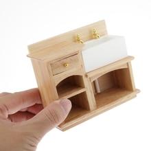 European 1:12 Dollhouse Furniture Mini Bathroom Sink Cabinet, Handcrafts Collectibles, Wooden + Ceramic