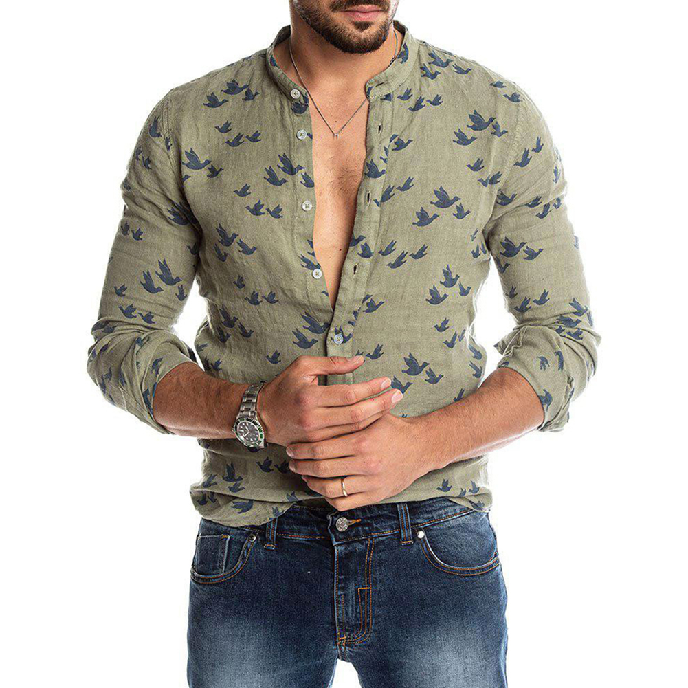 Casual Men Pigeon Print Fashion Pure Shirt Linen Slim  1