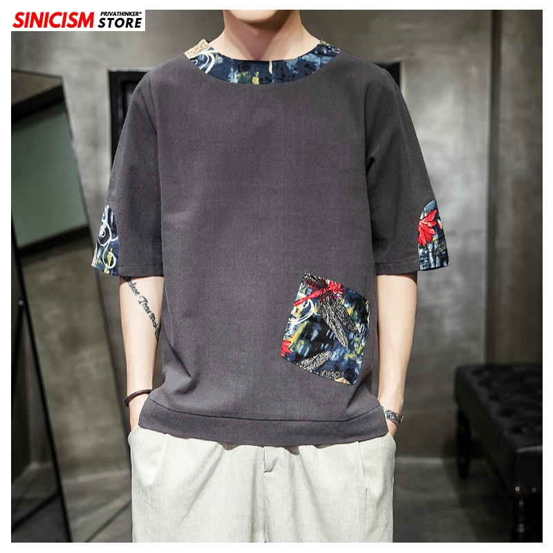 Sinicism Store 2020 New Men Patchwork Chinese Style O-neck TShirts Men Summer Casual T-Shirts Male Fashion Cotton Linen Clothes