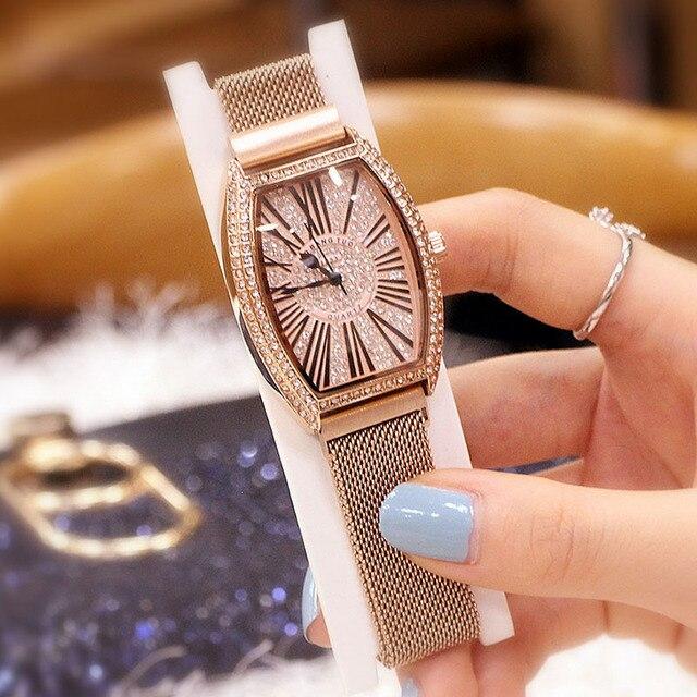 Vrouwen Pols Horloges Vrouw Luxe Merk Vrouwen Quartz Dames Tonneau Horloge Klok Vrouwelijke Lady Horloges Voor Vrouwen Relogio feminino