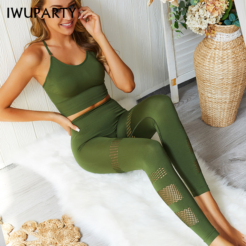 Fashion Two Piece Set Top Pants Woman Leggings Sexy Fitness Clothing High Waist Sport Jogging Suit Gym Slim Sportswear Ropa Muje