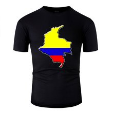 Print Harajuku Colombia Flag Map T Shirt Man Cotton Crew Neck Mens Tee Shirt Clothing Oversize S-5xl Top Quality(China)