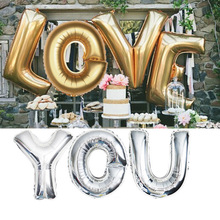 16 32 40 inch large aluminum film letter balloon A-Z gold silver rose wedding birthday holiday party decoration
