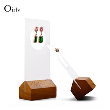 Oirlv Solid Wooden Jewelry Display Ring Earring Holder Exhibition for