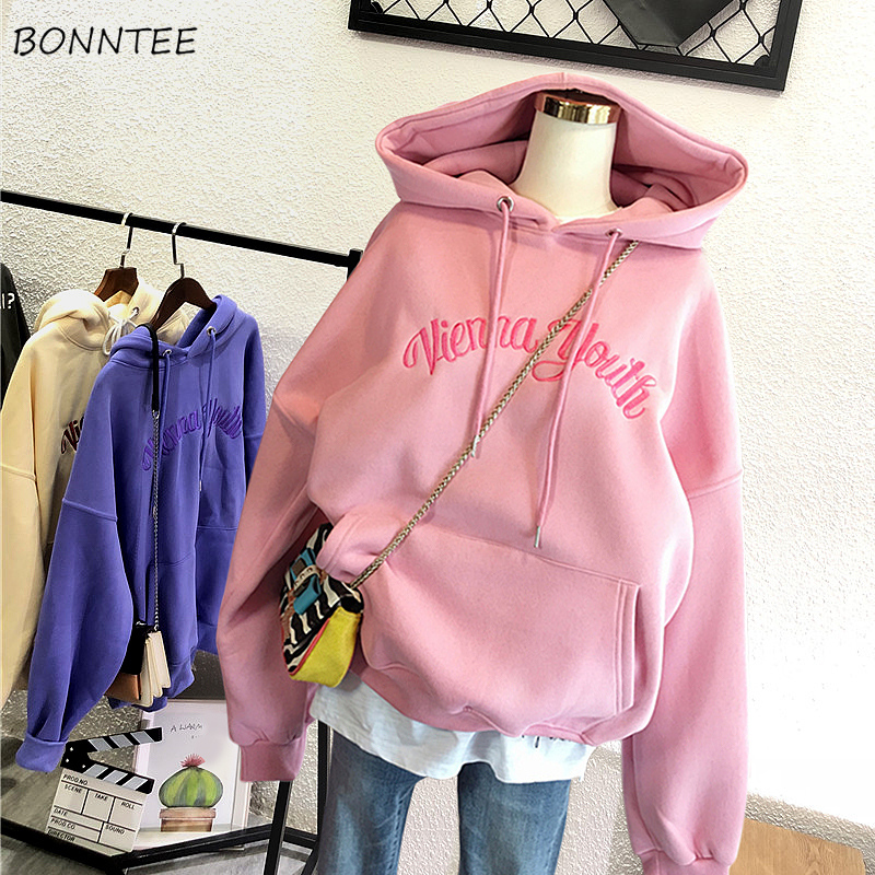 Hoodies Women Chic Letter Embroidery High Quality Clothing Womens Hooded Leisure Korean Style Plus Velvet Thicker Ladies Pockets(China)
