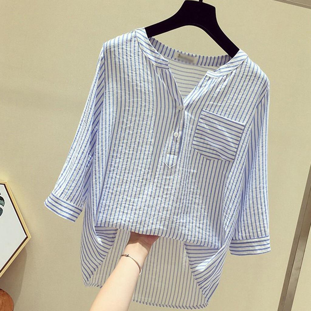 Blouse And Shirt Women Fashion Leisure V-Neck Tops Button Stripe Half Sleeve Blouse Blazer Female Blusas De Mujer Y Camisas