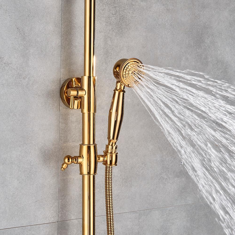 "Gold Polish Bathroom Rain Shower Faucet Bath Shower Mixer Tap 8 Rainfall Head Shower Set System Gold Polish Bathroom Rain Shower Faucet Bath Shower Mixer Tap 8"" Rainfall Head Shower Set System Bathtub Faucet Wall Mounted"