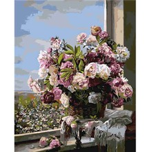 Hot Selling Flower Canvas Paintings DIY Painting By Numbers Framed Pictures Oil On Handmade Wall Art Vogue Gift