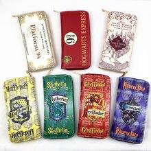 Nova carteira longa carta logotipo selo popular hogwarts design carteira transporte da gota