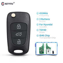 KEYYOU 433 Mhz Flip Car Remote Key Fob ID46 Chip For Hyundai I20 I30 IX35 Avante 3 Button Folding Car Auto Vehicle Control Alarm
