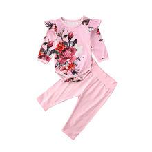 Милая одежда для малышей хлопковый комбинезон с длинными рукавами и цветочным рисунком для маленьких девочек, боди, топы, брюки, одежда для детей 0-24 месяцев