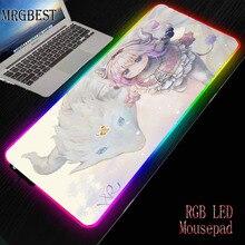 MRGBEST Japanese Anime Comic Large RGB Mousepad Miss Kobayashi's Dragon Maid Kanna Kamui Cute Girls Dragon Pattern Mouse Pad