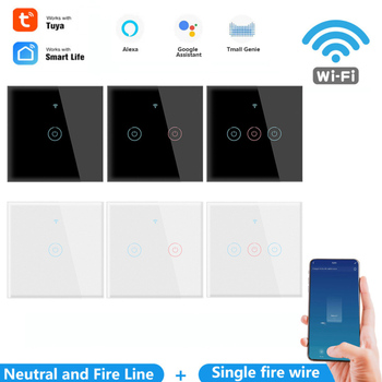 EU Smart Wifi Touch Switch No Neutral Wire Required Smart Home 1/2/3 Gang Light Switch Work With Amazo Alexa And Google Home image