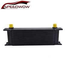 SPEEDWOW 13Row AN8 Universal British Type Engine Transmission Oil Cooler Aluminum Radiating System Black