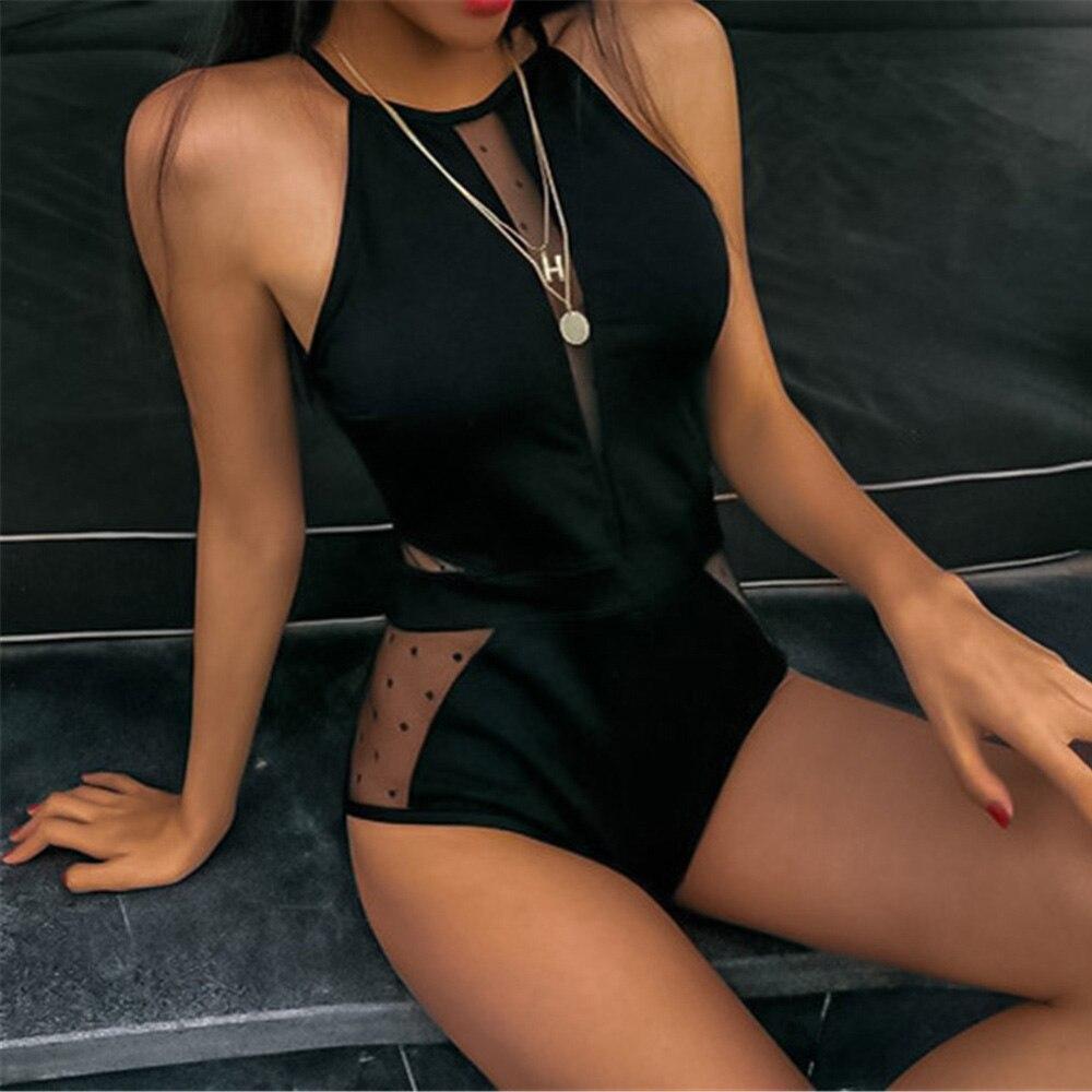 Sexy Mesh Cut Hollow Out Deep V Neck High Waist Swimsuit Lady 2020 Monokini One Piece Swimwear Women Swim Bath Suit Trikini-1