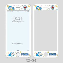 Japanese Cartoon Doraemon Pattern Full Cover Screen Protector For iPhone 6 6s 7 8 Plus Tempered Glass Film Protective Glass(China)