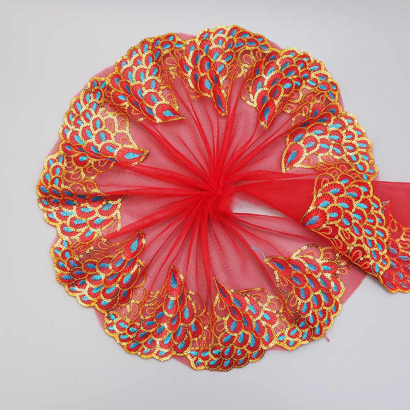 20CM szeroki luksusowy paw haft cekiny kwiatowa tiulowa koronka wykończenie tkaniny wstążka DIY aplikacja do szycia kołnierz gipiury wesele wystrój