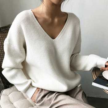 2020 New Autumn V-Neck Sexy Knitted Sweater Women Pullovers Female Solid Fashion Pullover Winter Loose Sweaters