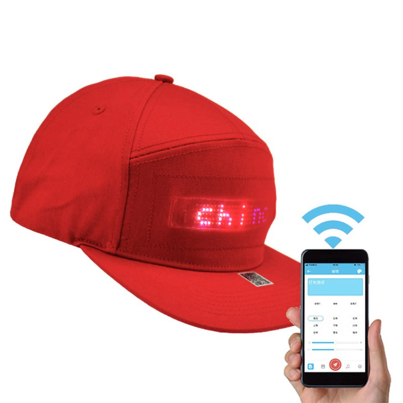 LED Display Cap Smartphone App Controlled Glow DIY Edit Text Hat Baseball Tennis Sports Cap AHPU image