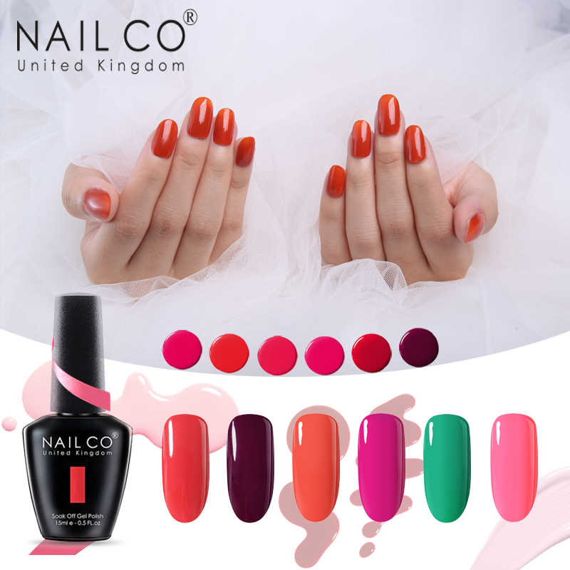 NAILCO Soak Off Gel Nail Polish 15ml 85 Serie di colore Semi-permanente di Uv Ha Condotto La Lampada di Arte Hybrid Lacca strato di Base Del Gel Del Chiodo