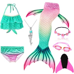 Image 5 - Disfraz de cola de sirena Bañador de cola de sirena con aleta para niña, traje de baño, Bikini, monoaleta para nadar